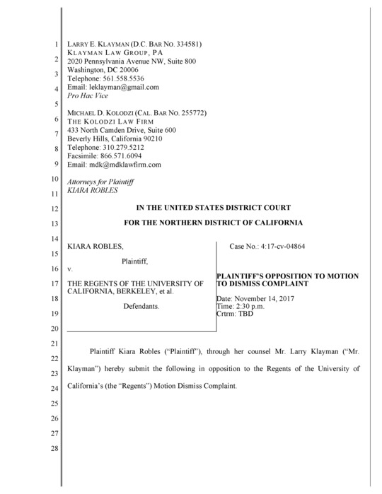 Freedom Watch and Klayman Client File Legal Briefs Against UC